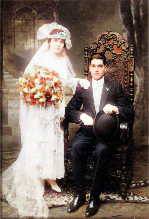 Dina John Ristuccias Wedding Photo - Colorized